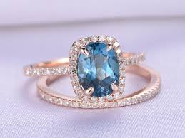 blue topaz engagement rings london blue topaz engagement ring set 6x8mm oval cut solid