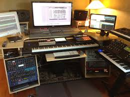 Music Studio Desk Plans by My Custom Built Production Desk With A Sliding 88 Key Controller
