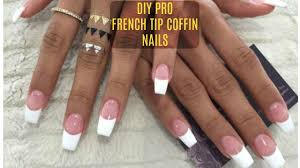diy professional french nails at home 6 french tip coffin