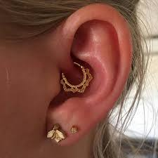 ear piercing earrings lotus ear piercing daith earring gold tragus earring helix