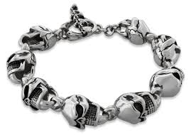 bracelet skull silver images Men 39 s stainless steel cracked head skull bracelet jpg