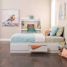 Twin Platform Bed With Storage Shop Prepac Furniture White Twin Platform Bed With Storage At