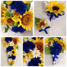 sunflower wedding bouquet artificial horizon blue sunflower wedding bouquet set sunflower