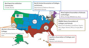 us map middle states map of regional accrediting associations