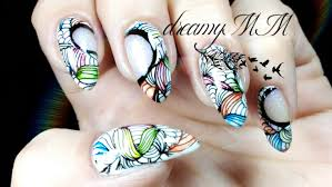 negative space leadlight watercolour abstract stamping nail art