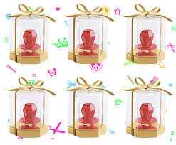 candy containers for favors 6 hexagon shaped plastic boxes with gold bottoms ring pop favor