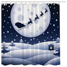 Santa Curtains Christmas Santa Sleigh Reindeer Fabric Shower Curtain Digital Art