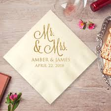 personalized wedding napkins mr and mrs personalized wedding napkins 25 pcs personalized