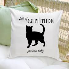 personalized cat gifts personalized cat silhouette throw pillow