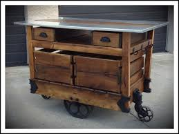kitchen islands and carts rustic unfinished oak wood kitchen island with black iron wheels