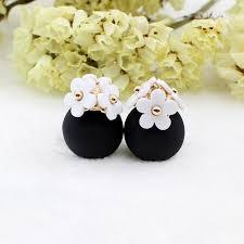 sided stud earrings pearl flower and sided stud earrings hyperion