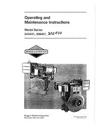 briggs u0026 stratton 243431 series user manual 10 pages also for