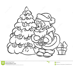 christmas santa claus tree gift coloring page stock illustration