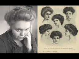 how to style hair for 1900 edwardian era ca 1900 hair updo youtube