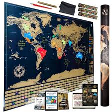 Large World Map Poster Wall Maps Amazon Com Office U0026 Supplies Education U0026 Crafts