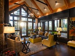 country cottage style wallpaper log cabin living room lodge style