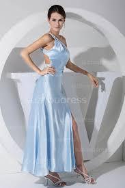 light blue prom dresses sequined beading one shoulder ankle length