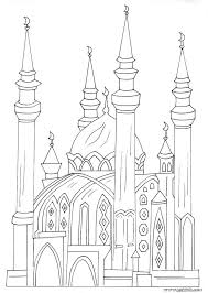 drawn mosque colouring pencil color drawn mosque colouring