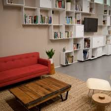 blooming book display home image ideas with low profile sofa red