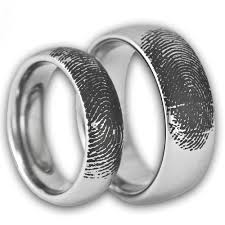 matching wedding bands his and hers couples custom engraved tungsten fingerprint rings his and hers