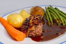 hakkeboef or chopped steak traditional dinner stock photo