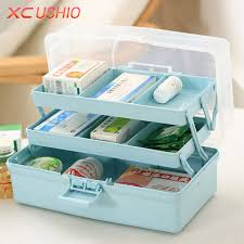 Plastic Tool Storage Containers - portable three layers folding storage box first aid kit medicine