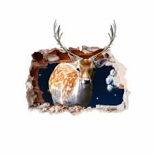 pag 3d christmas deer sticker wall decals home 3d christmas wall