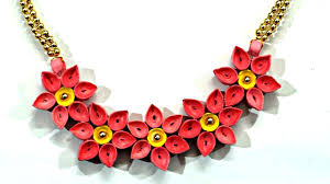 necklace flower handmade images Diy quilled paper necklace easy paper quilling jewelry tutorial jpg