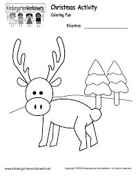 kindergarten christmas coloring worksheet printable christmas