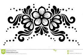 black and white lace flowers and leaves isolated on white floral