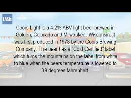 what was the first light beer what is in coors light beer youtube