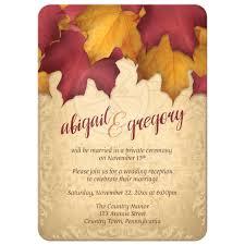 only invitations rustic burgundy gold autumn leaves