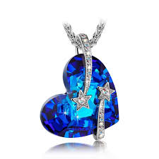 swarovski heart necklace blue images Ladycolour venus shooting star swarovski blue heart pendant jpg