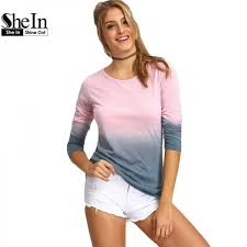 shein women long sleeve loose t shirts casual tops ombre round