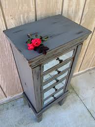 grey jewelry armoire painted and distressed mirror front