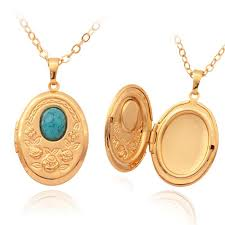 necklace charms wholesale images Vintage oval turquoise photo locket pendants 18k gold plated jpg