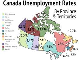 map of canada by province map canadian unemployment rates by province and region