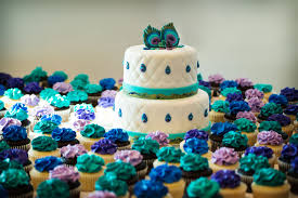 peacock themed wedding peacock themed wedding cake and cupccakes by kayleymackay on