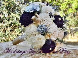 Shabby Chic Bridal Bouquet by Fall Bouquets Burlap Lace Plum Sola Bouquet Purple Bouquet