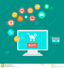 design poster buy icons of buying product via online shop and e stock illustration