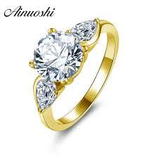 aliexpress buy 2ct brilliant simulate diamond men ainuoshi 10k solid yellow gold wedding ring brilliant 2 ct sona