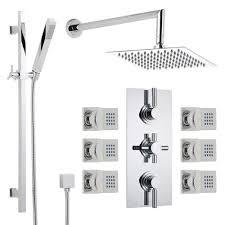 shower system with extended arm slide rail kit 6 jets