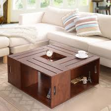 walnut coffee table with storage box tables cl thippo