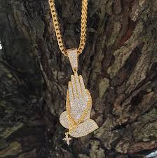 praying necklace gold iced praying pendant spicyice