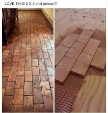 Diy Hardwood Floor Installation 2x4 Faux Brick Floor With Wood Blocks Wooden Blocks For