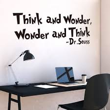 dr seuss sayings think and wonder wall sticker quotes for nursery