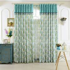 Green Bedroom Curtains Blue And Green Leaf Pattern Decorative Bedroom Curtains