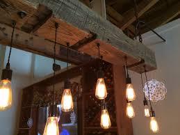 reclaimed barn beam light fixture with edison bulbs description