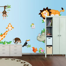 kids room giant nursery wall decal scroll tree owl jungle animal kids room cute jungle wild animals lovely wall sticker for cartoon within