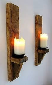Shabby Chic Wall Sconces Large Wood Candle Holders Open Travel